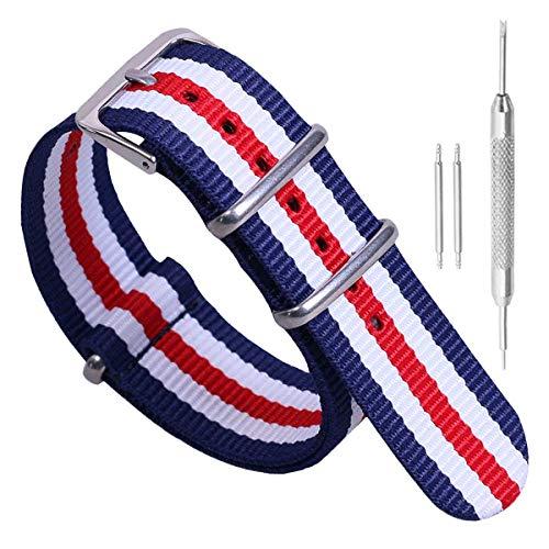 de una Sola Pieza Correas de Reloj de Estilo de la NATO perlón Nylon exquisitos de Las Mujeres 14mm Multicolor de Lujo Correas Textiles