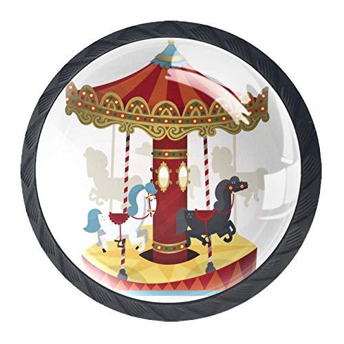 OLEEKA Tirador de manijas de cajón Perillas Decorativas del gabinete del cajón Manija del cajón del tocador 4 Piezas,carrusel con Caballos