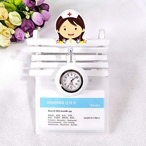 Cxypeng Relojes Bolsillo Médico Enfermera,Linda Mesa de Enfermera retráctil de Silicona, Tarjeta de Trabajo de Reloj de Bolsillo médico Set-F,Reloj de Enfermera Fob