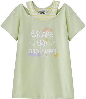 تي شيرت cicie Girls للأطفال ذو ياقة مستديرة تي شيرت قطن بأكمام قصيرة للأطفال 3-8 سنوات