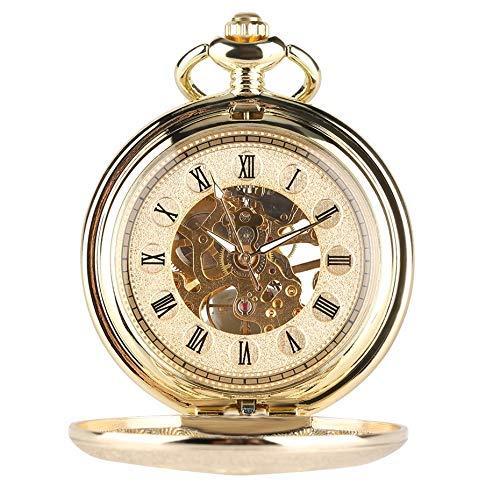 J-Love Reloj de Bolsillo mecánico Dorado Completo con Esqueleto Hueco, Reloj Colgante de Cuerda Manual, Reloj Vintage para Hombres y Mujeres