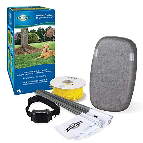 PetSafe YardMax Battery-Operated In-Ground Dog Fence - Cordless Transmitter for Easy DIY - Waterproof and Rechargeable Collar for Dogs 5lb & Up - from The Parent Company of Invisible Fence Brand