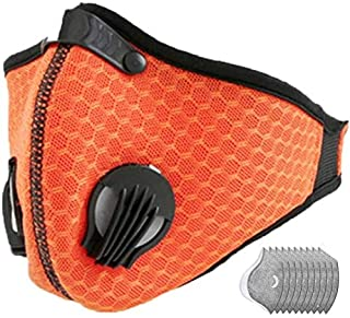 Jinlan 1with Filter,Sports Face, 10Filters Included,Men's and Women's Universal,Suitable for Woodworking, Outdoor Activities(Orange)