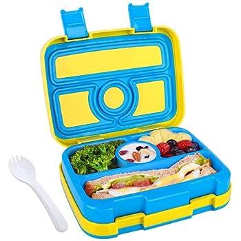Fiambrera Bento para Niños Lunchbox con 4 Compartimentos Caja de Almuerzo con Cuchara Fiambrera Infantil para Colegio Excursion Picnics Comida Merienda para Niños (Azul): Amazon.es: Hogar