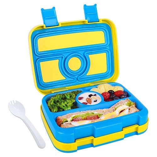 Abree Bento Enfant Boîtes Bento Enfant Fille Garçon Bébé Boîte à Bento pour Enfants à 4 Compartiments sans BPA avec Cuillère Boîte à Lunch Parfait pour Ecole Pique-niques et Voyages (Bleu)