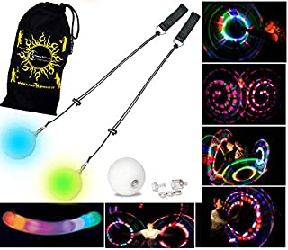 Flames 'N Games LED Glow Poi - Multi-Colour / Slow Fade + Travel Bag