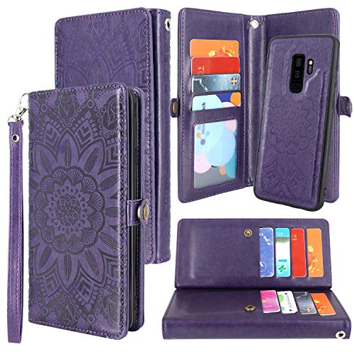 Harryshell Galaxy S9 Plus Case, Bling Sparkle Glitter 12 Card Slots Detachable Magnetic Wallet Shockproof PU Leather Flip Protective Case Wrist Strap for Samsung Galaxy S9 Plus (2018) (Flower Purple)