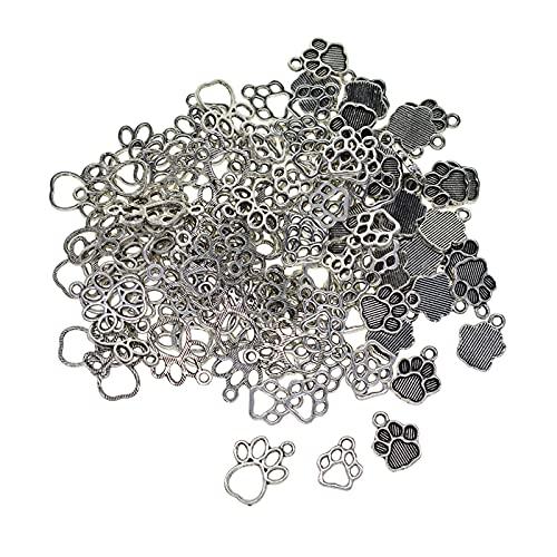 F Fityle 200x Estilo Vintage Cachorro Paw Print Charms Colgante de Metal Collar Pendientes Fabricación de Joyas Elaboración de Bricolaje