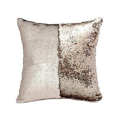 Elita Décor Mermaid Pillow Case, Magic Glitter Reversible Sequin Pillow Cover Throw Cushion Case 16 X16  (White Gold)