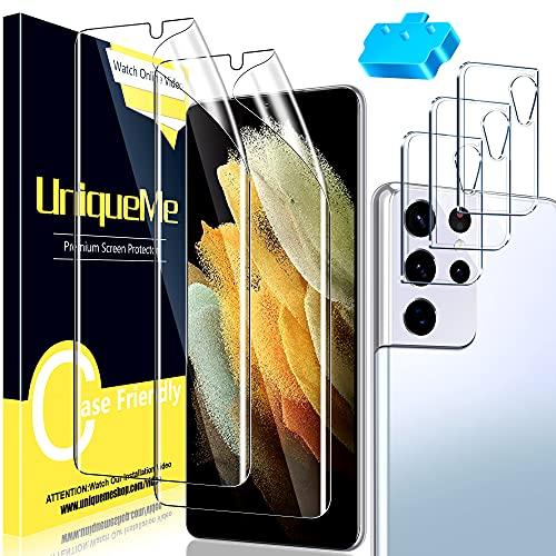 UniqueMe [2+3 Pezzi ]Pellicola Protettiva Compatibile con Samsung Galaxy S21 Ultra TPU(6.8 Pollici)+Pellicola Fotocamera Compatibile con Galaxy S21 Ultra Vetro Temperato [Bubble-Free]