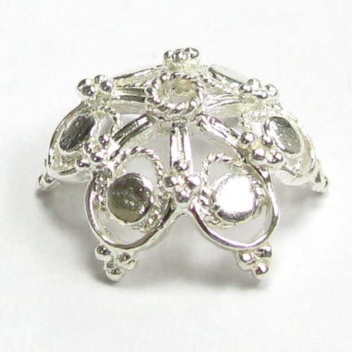 New color 2 pcs .925 Sterling Silver Snowflake 25% OFF Bead Filigree Flower 14 Cap