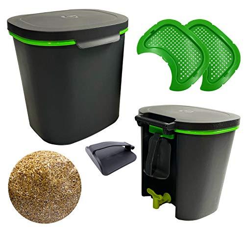 WormBox 2er-Pack Bokashi Confort, hochwertiger organischer Komposter mit Kompaktor und 3kg Gärungsaktivator | Komplettes Set