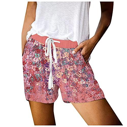 Pantalones Cortos Casual de Mujer con Cordón Shorts de Estampado de Flores con Bolsillos Pantalón Cortos Suelta Verano Pantalones Cortos Transpirables Pantalones Cortos Ideal para Vida Cotidiana