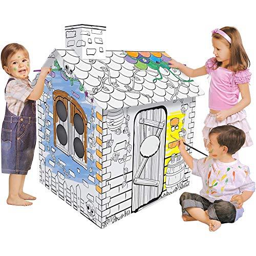 YUEHAPPY Casa de Juegos de Cartón Princesa Casa de Cartón para Pintar Casa Juguete de Cartón