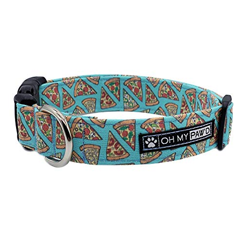Pepperoni Pizza Collar for Pets Size Small 3/4 Inch Wide and 12-17 Inches Long - Hand Made Dog Collar by Oh My Paw'd