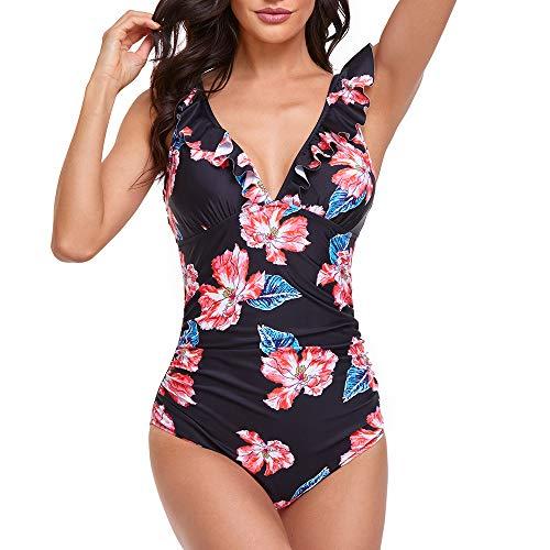 Summer Mae Costume da Bagno Intero Donna Scollo a V Volant Controllo della Pancia Monokini Nero Rosso Fiori XL