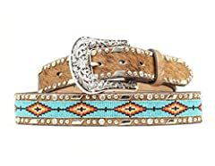 Southwestern Beaded Inlay Rhinestones and silver-tone studs around edges of belt