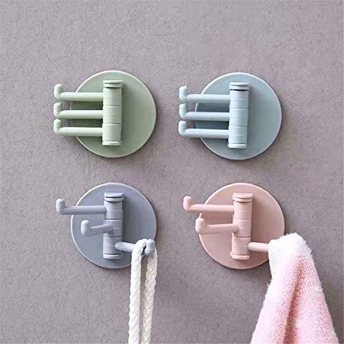 Esissenils 5 Packs Rotatable Triangle Towels Racks Adhesive Wall-Mount Bathroom Hangers Stick Hook for Hanging Coat Hat Towel Robe Hook Rack Wall Mount-Bathroom and Bedroom