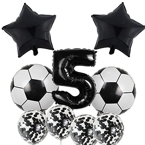 Globos de fútbol para cumpleaños infantiles de 5 años, globos de fútbol grandes, color negro, con número 5, para fiestas temáticas de fútbol
