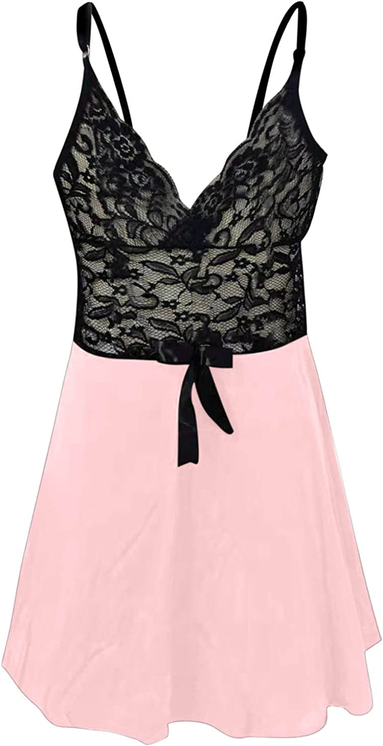 wodceeke Plus Size Lingerie for Women Sexy Lace Splicing Sling Nightdress V Neck Backless Dress Suspender Chemise Nightgowns
