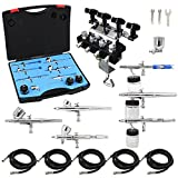 OPHIR 6 PCS Dual-Action Airbrush with 4-Airbrush Holders Set 0.2mm 0.3mm 0.35mm 0.5mm Nozzle Air Brush Spray...
