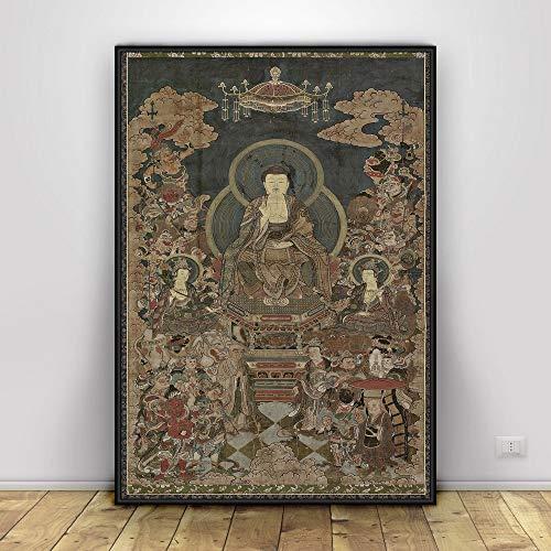 Z.L.FFLZ Tibetisch Sakyamuni und Arhat Thangka Tibet Klassische Kunst-Kopie Buddhismus Buddha-Statue (Color : 3, Size (Inch) : 8X12)
