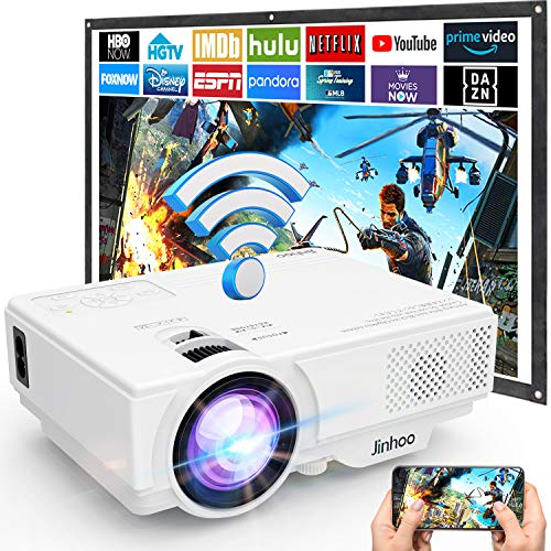 Beamer, WiFi Beamer, M8-TPA Wireless Projektor 5500 Lumen, Video Beamer Unterstützt 1080P Full HD, Native 720P Projektor Kompatibel mit TV Stick Smartphone Tablet HDMI VGA USB AV für Heimkino.