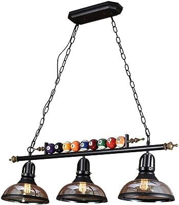 Aaedrag Decoración del billar 3 luces lámpara, lámpara de araña retro altillo, altillo país Castaño americano retro viento industrial lámpara de mesa de tres cabezas araña de hierro mesa de billar bar: