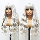 ANDRIA Platinum Blonde Natural Wave Wig with Bangs Platinum Blonde Wigs Light Gray Wigs White Blonde Full Wigs Synthetic Long Wavy Full Wigs Loose Curly Wig 24 Inches Colorful Wigs for Women