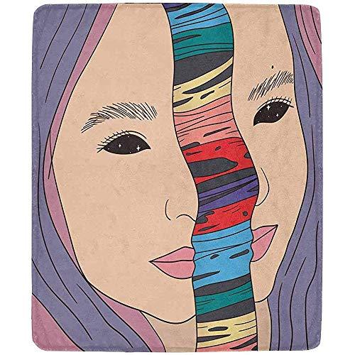 Annays Kuscheldecke Gesicht Mädchen Regenbogen Schleim Werfen Decke Decke Fleecedecke Für Bett Couch Stuhl Die Ganze Saison Warm 102x127CM