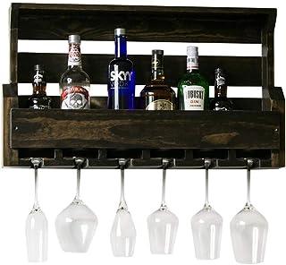 Cuisine Maison Porte-bouteilles Casier à vin suspendu vintage ajouré en bois massif, meuble à vin mural, porte-verre à vin...