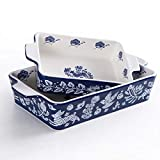 Bakeware Set,SIDUCAL 2 PCS Ceramic Baking Dish Set,Rectangular Home Cookware Pans with Double...