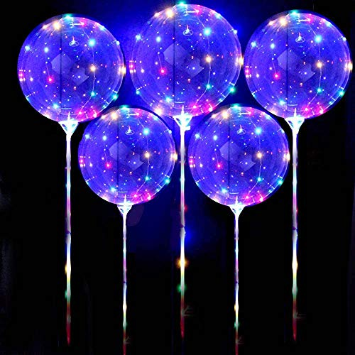 DANIDEER Led BoBo Balloons Colorful, 18 Inch 5 PCS Transparent Helium Balloons with STICKS and STRING LIGHTS 3 levels Flashing , Light up Balloons plus BONUS PUMP for Birthday, Wedding, Christmas and Party Decoration