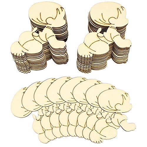 Hysagtek 30pcs de madera en blanco bebé formas etiquetas Craft tarjetas ideal para Scrapbooking, etiquetas de regalo, Navidad, bodas o colgar arte decoraciones