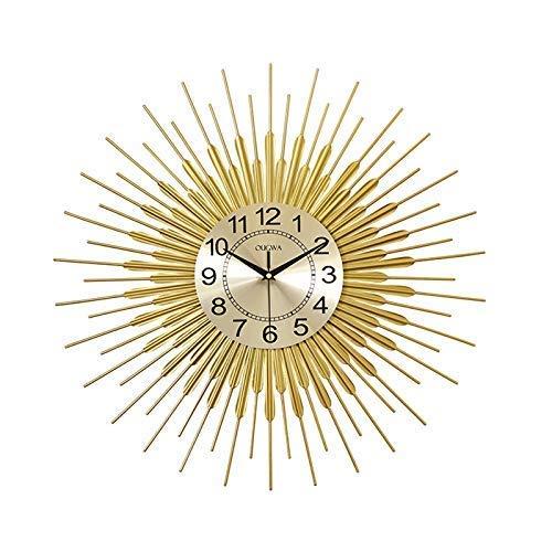 Reloj de Pared Starburst Grande, Estilo Moderno, diseño geométrico de líneas Creativas y Forma de Hoja, silencioso Reloj de Pared de Metal DIY para Sala de Estar, Dormitorio, Oficina, Dorado, 22