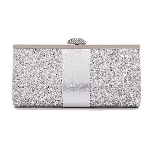 Dazzling Glitter Evening Purses and Clutches for Women Formal Party Bag Wedding Handbags (Silver)