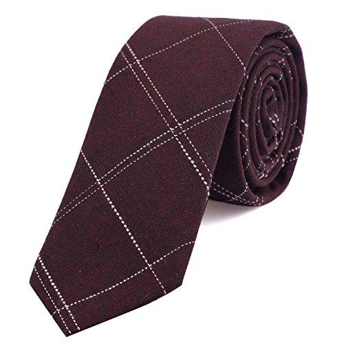 DonDon cravatta stretta a righe da uomo 6 cm cotone - rosso bordeaux rigato