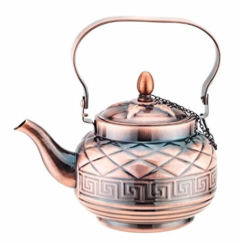 Mega Cook Stovetop Tea Kettle Teapot- Stainless Steel with Copper Finishing- 1.2 LT (Free Gift w/Any Purchase)