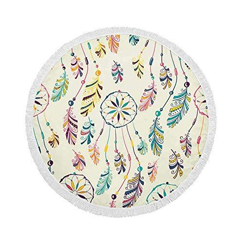Manta de Toalla de Playa Redonda, atrapasueños Indio Americano Nativo, Esterilla de Yoga Circular Grande de Gran tamaño de 59 Inch con borlas de Flecos