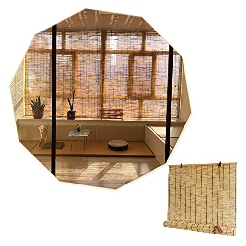 YAO YU Bamboo Roller Blind Awning,Natural Decorative Reed Curtain-Roll up Shades,Shading 60%,Easy to Install,Roman Straw Blinds for Doors,Windows,Pergola,110X180Cm/43X71In,50X60Cm/20X24In