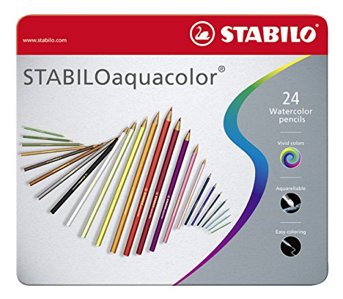 Matita colorata acquarellabile - STABILOaquacolor - Scatola in Metallo da 24 - Colori assortiti