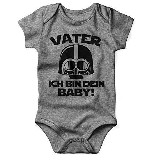 Mikalino Babybody mit Spruch für Jungen Mädchen Unisex Kurzarm Vater - ich Bin Dein Baby! | handbedruckt in Deutschland | Handmade with Love, Farbe:Heather, Grösse:74