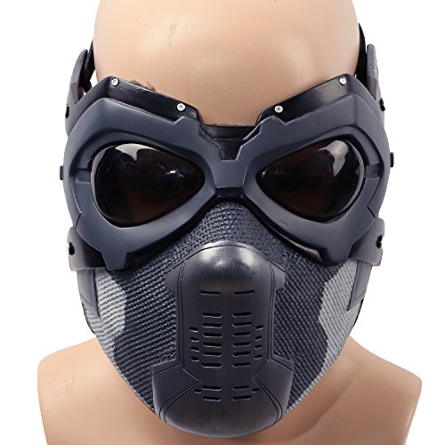 Xcoser Halloween Maske Bucky Cosplay Kostüm Hälfte Gesicht Helm Herren Verrücktes Kleid Zubehör Merchandise für Adult Replik