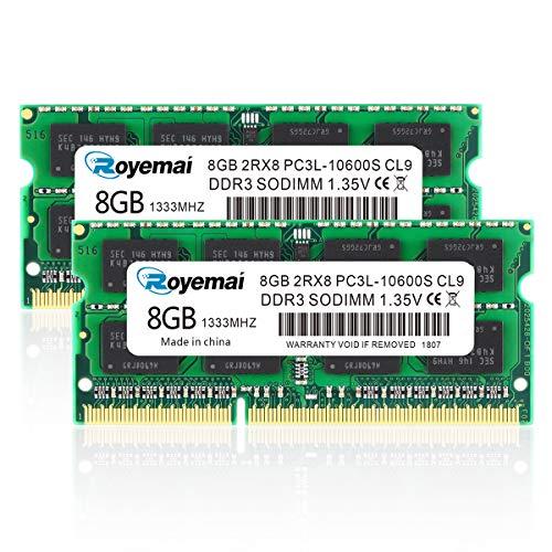 DUOMEIQI DDR3 RAM 16GB Kit (2X8GB) PC3-10600 DDR3 1333 16GB DDR3L 2Rx8 1,35V CL9 Sodimm Arbeitsspeicher für Notizbuch Laptop