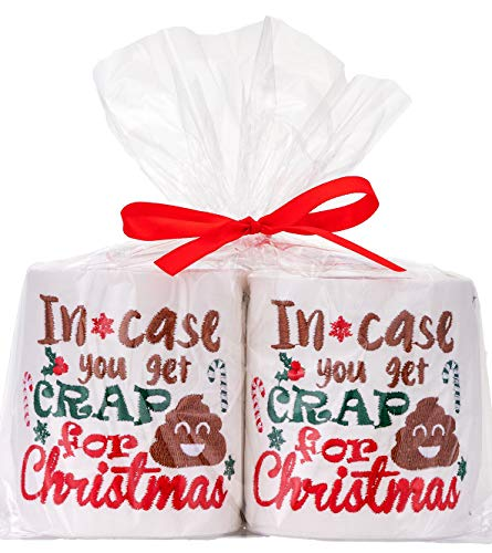 90shine Christmas Embroidered Toilet Paper Decorations - Xmas Party/White Elephant/Gag Gift/...