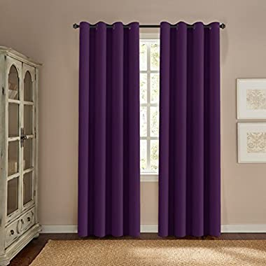 H.VERSAILTEX Ultra Soft Smooth Innovated Microfiber Thermal Insulated Blackout Window Curtains Bedroom/Living Room - 52  W 84  L-Solid in Plum Purple (One Panel)