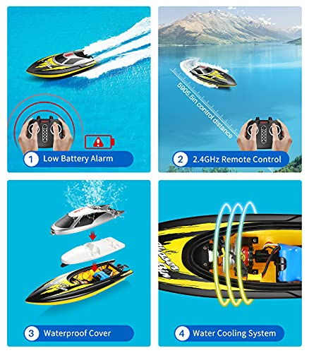 Remote Control Boat, SYMA Q7 RC Boats for Adults and Kids, 20+ km/h 2.4GHz Fast Racing Boat for Pools and Lakes with Capsize Recovery, Low Battery Alarm, 2 Rechargeable Battery, Gifts for Boys Girls