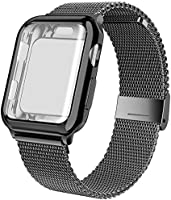 jwacct Compatible for Apple Watch Band 38mm 40mm 42mm 44mm, Adjustable Stainless Steel Mesh Wristband Sport Loop for...