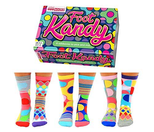 United Oddsocks Foot Kandy Set Di 6 Calze Spaiate Da Donna Taglia 37-42 In Confezione Regalo