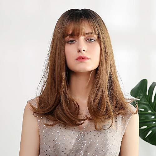 Mostfar Perruques synthétiques résistantes à la chaleur avec frange et pointes de cheveux bouclés pour femme blanche 40,6 cm